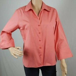 Blouse Size 10 Long or 3/4 Sleeve Dk Peach Button